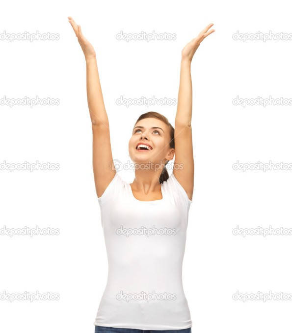 picture of young happy woman with hands up